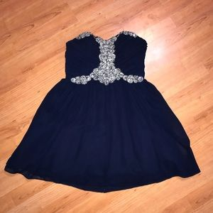 City Triangles Navy Blue Mini Formal Dress